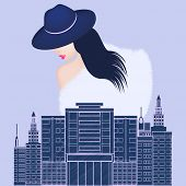 City Landscape - Woman In A Fur Coat And Elegant Hat - Vector. Winter Clothes. Top Seasonal Clothes. poster
