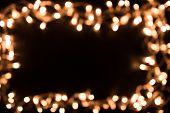 Blurry Christmas Lights. Christmas Lights Border. Christmas Background With Lights And Free Text Spa poster