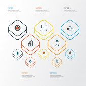 Yoga Icons Colored Line Set With Relaxation, Yoga Bag, Prayer And Other Yoga Pose Elements. Isolated poster