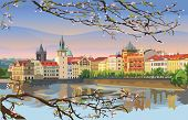 Colorful Vector Illustration Of Prague Old City Panorama With Blossom Tree, River Vltava. Landmark O poster