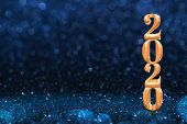 2020 Golden New Years 3d Rendering At Abstract Sparkling Dark Blue Glitter Perspective Background St poster