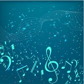 Vector Illustration Of An Abstract Background With Music Notes. Colorful Music Background. Shining N poster