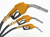 stock photo of bowser  - Gas pump nozzles on white isolated background - JPG