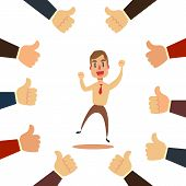 Happy And Proud Businessman With Many Thumbs Up Hands Around Him. Business Compliment Concept. Vecto poster