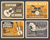 Musical Instruments And Notes Vector Design With Drums, Guitar And Violin, Gramophone And Vinyl Reco poster