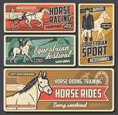 Equestrian Sport Vector Posters With Race Horses, Jockeys And Riders, Thoroughbred Racehorse, Hippod poster
