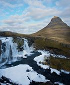 Kirkjufell Iceland Church Mountain With Waterfall In Winter The Most Famous Mountain poster