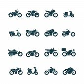 Street Bikes Symbols. Silhouettes Of Urban Transport Cycle Touring Motorbike Chopper Vector Collecti poster