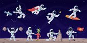 Astronaut. Cute Astronauts Working In Space With Equipment And Spaceship, Greeting Alien And Flying  poster