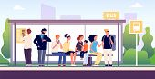 People At Bus Stop. City Community Transport, Passengers Waiting The Buses Standing Together, Urban  poster