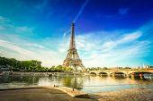 Paris Eiffel Tower Reflecting In River Seine With Bridge Pont Diena In Paris, France. Eiffel Tower I poster