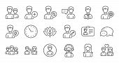 User Person Line Icons. Profile, Group And Support. People Linear Icon Set. Quality Line Set. Vector poster