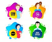 Wow Offer. People Shape Offer Badge. Special Sale Price Sign. Advertising Discounts Symbol. Dynamic  poster