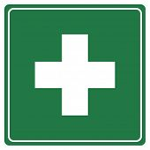 pic of first aid  - Green first aid sign isolated on white background - JPG