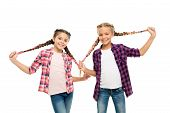 Doing Cute And Easy Hair Style. Happy Children Hold Long Braided Hair Style. Small Girls Smile In Ca poster