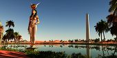 Hathor Statue In Egypt 3d Illustration - Hathor Was The Symbolic Egyptian Mother Of The Pharaohs. He poster
