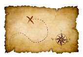stock photo of treasure map  - Pirates treasure map with marked location - JPG
