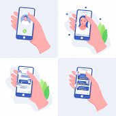 Hand With Phone Set. Hand Holding A Smart Phone. Video Chat, Phone Call, Chatting And Rating Apps. M poster