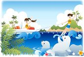 Summer Vacation and Happy Travel - enjoy extreme sports with cute smiling young female and male in b