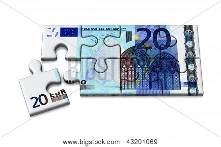 Euro currency puzzle, 3d