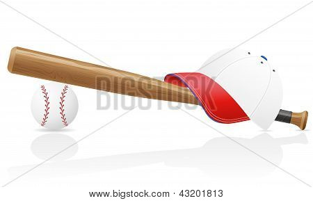 Baseball Ball Cap And Bit Vector Illustration