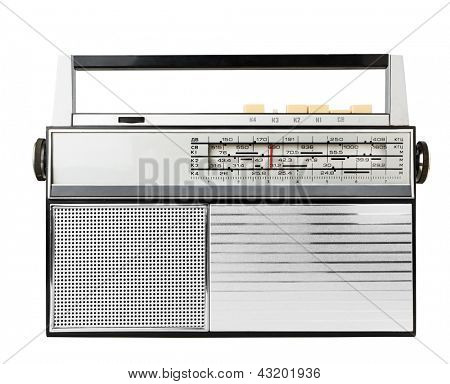 Old fashioned radio isolated on a white