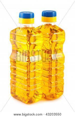 Two Plastic Bottles Of Sunflower Oil