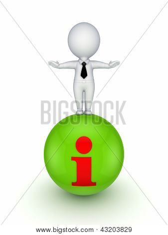 3d person standing on a ball with Info symbol.