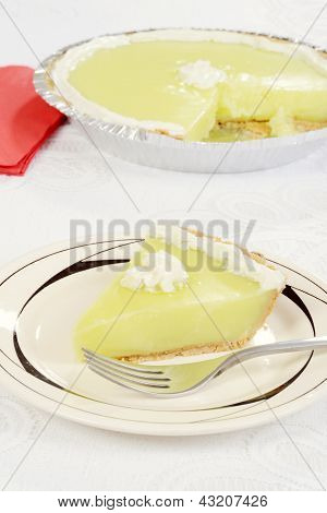 key lime pie with a fork