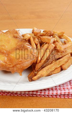 closeup deep fried fish and chips