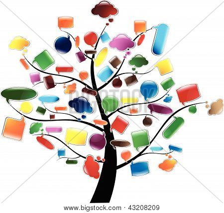 Tree with glossy Speech Bubbles