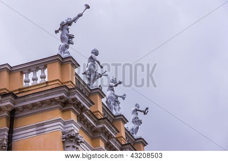 Allegorical statues on the roof of the Charlottenburg Palace