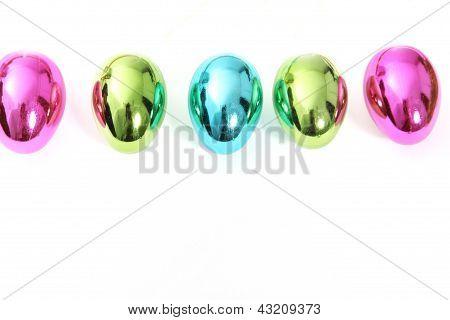 Line Of Vibrant Shiny Easter Eggs