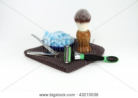 Mens Shaving Supplies Isolated