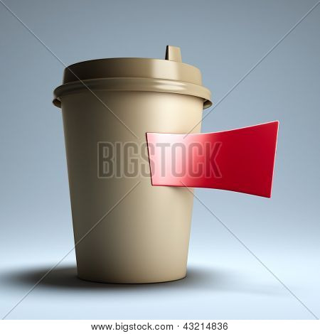 Coffee paper cup with sticker. A 3d illustration blank template layout of paper cup with information sticker.