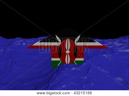 Kenyan flag arrow in abstract ocean illustration