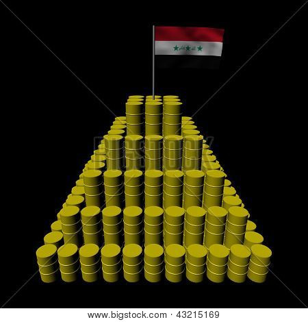 Stack of oil barrels with Iraqi flag illustration