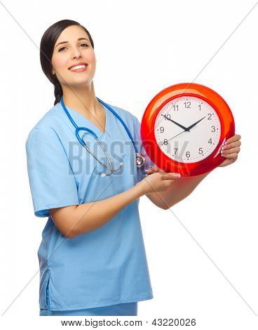 Doctor with clock isolated on white