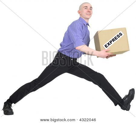 Man To Hurry To Deliver Box