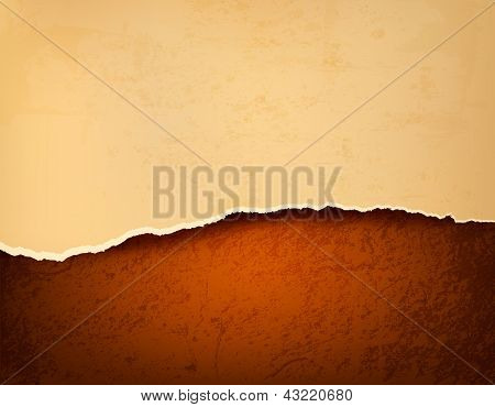 Retro Background With Old Ripped Paper And Brown Leather. Vector Illustration