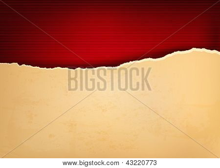 Vintage Background With Ripped Old Paper. Vector