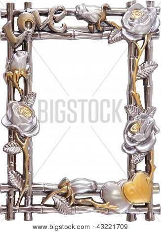 Flower Silver And Gold Frame