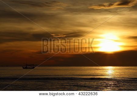 Fishing Boat Sunrise, Huahin Thailand