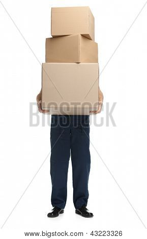 Workman delivers the parcel of three boxes, isolated, white background