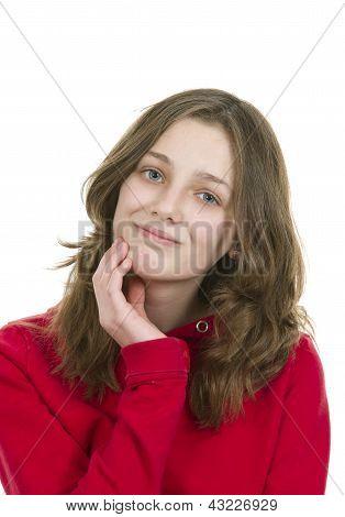 Pre teen jovem em pose pensativa