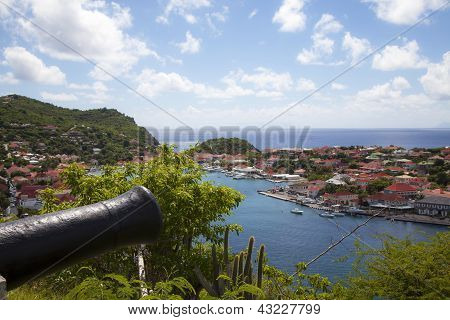 Old cannon on top of Gustavia Harbor, St. Barths, French West indies