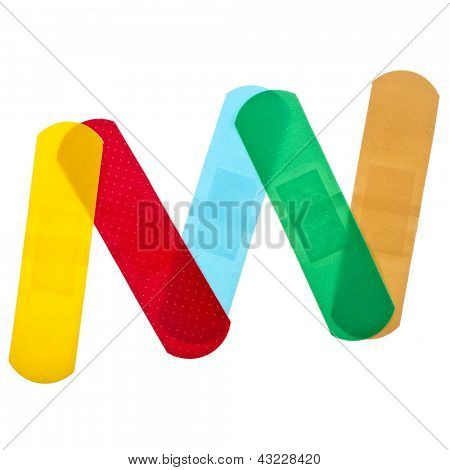 colored adhesive bandage plaster  close up macro , isolated on a white background