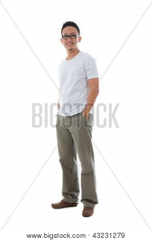 Malay Indonesian Male In Casual Clothes Full Body With Isolated White Background