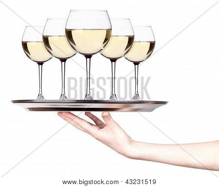 Glass Of White Wine Set On A Silver Tray