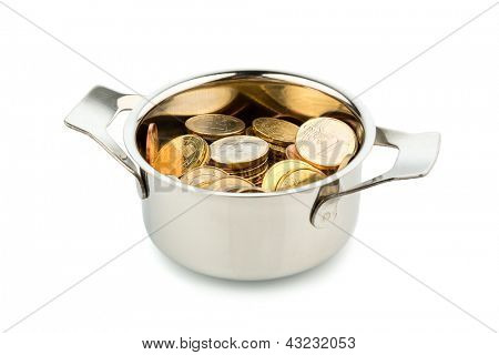 a cooking pot, to h��?���¤fte filled with euro coins photo icon on debt and financial needs